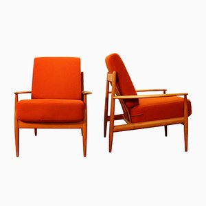 Orange Easy Chairs from France & Søn, 1950s, Set of 2