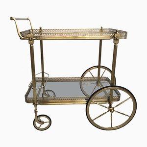 Large Vintage French Brass Drinks Bar Cart
