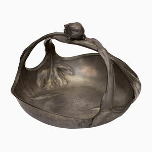 Art Nouveau Pewter Tulip Vide Poche by Hugo Leven for Kayserzinn, 1900s