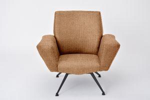 Personalisierbarer italienischer Modell 548 Sessel von Lenzi, 1960er in Terrakotta
