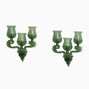 Wandlampen aus Muranoglas, 1940er, 2er Set