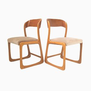 Vintage French Teak & Velvet Sled Chairs from Baumann, 1960s, Set of 2
