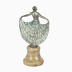 Scultura Art Deco in bronzo e onice di Josef Lorenzl, anni '20