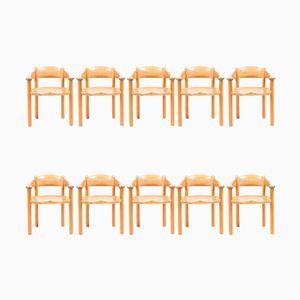 Esszimmerstühle aus Pinienholz von Rainer Daumiller für Hirtshals Savaerk, 1960er, 10er Set