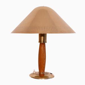 Skandinavische Vintage Messing und Holz Lamp