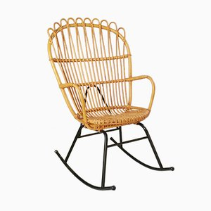 Mid-Century Rattan & Metal Rocking Chair, 1960s