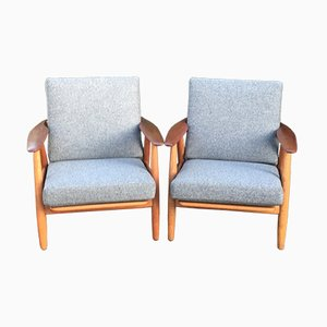 Mid-Century Teak Cigar Chairs by Hans J. Wegner for Getama, Set of 2
