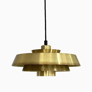 Model Nova Brass Hanging Lamp by Johannes Hammerborg for Fog & Mørup, 1960s