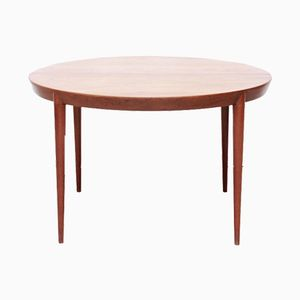 Teak Round Extendable Dining Room Table by Severin Hansen for Haslev Mobelfabrik, 1960s