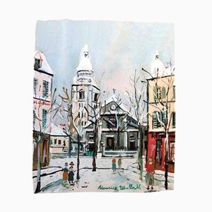 L'Eglise Saint Pierre de Montmartre Pochoir by Maurice Utrillo for Vertex, 1950