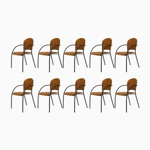 Iron & Wicker Chairs, 1950s, Set of 10