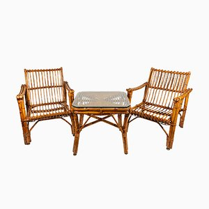 Vintage French Rattan Coffee Table & 2 Armchairs, 1970s