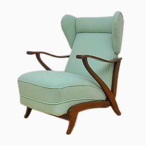Art Deco Light Green Wingback Chair, 1940s