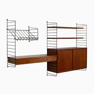 Vintage Teak Veneer Wall Unit by Kajsa & Nisse Strinning for String