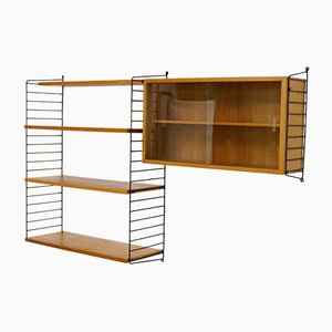 Vintage Ash Veneered Wall Unit with Showcase by Katja & Nisse Strinning for String