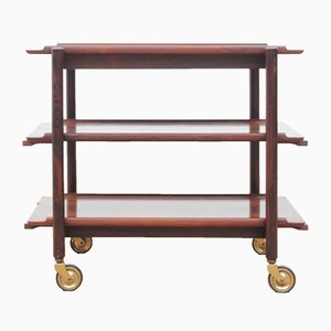 Scandinavian Rosewood 3-Tier Trolley by Poul Hundevad, 1960s