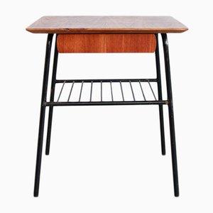 Table d'Appoint avec Tiroir Vintage en Teck, Suède