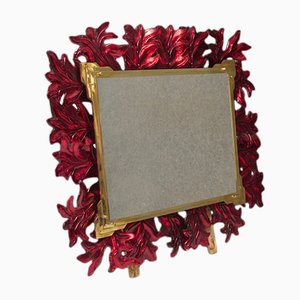 Vintage Illuminated Red Murano Glass & Brass Mirror, 1970s
