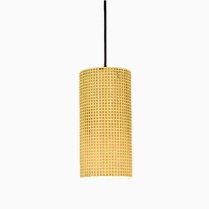 Vintage Yellow Perforated Metal Pendant Lamp
