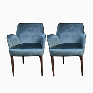 Vintage Italian Mahogany & Blue Velvet Lounge Chairs, Set of 2