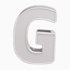 Lettera G vintage bianca, anni '80