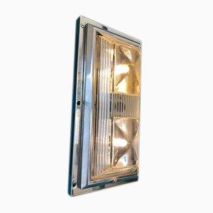 Lampada da parete o soffitto Art Deco in alluminio e vetro, anni '30