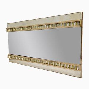 Espejo de pared italiano Mid-Century de vidrio y latón, años 50