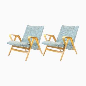 Vintage Armlehnstühle aus gebogenem Buchholz, 2er Set