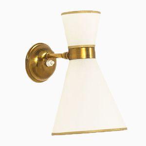 Französische Mid-Century Wandlampe aus Messing