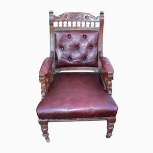 Chaise en Hêtre et Cuir Rouge, 1930s