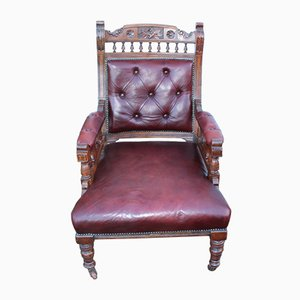 Sessel aus Buche mit dunkelrotem Leder, 1930er