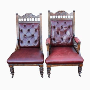 Beech and Deep Red Leather Chairs, 1930s, Set of 2