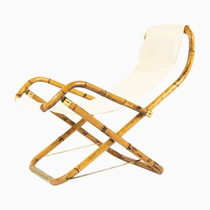 Bamboo Lounge Chair with Beige Seat, 1950s