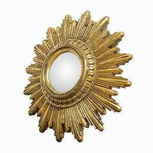 Mid-Century Convex Sunburst Mirror in Gold