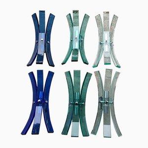 Lámparas de pared vintage de vidrio de Veca, años 70. Juego de 6