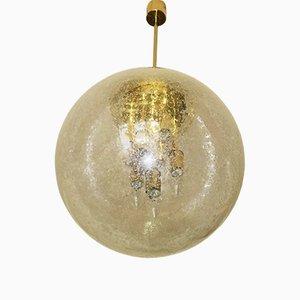 Lampada grande sferica in vetro smerigliato e ottone di Doria, anni '60