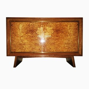 Art Deco Walnut & Brass Cabinet, 1920s