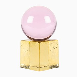 OH MY Mini Glass Sculpture in Pink with Yellow Base by Maria Gustavsson & Strups for Swedish Ninja