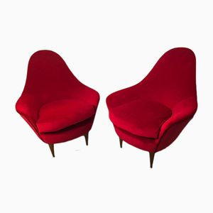 Mid-Century Red Armchairs, Set of 2