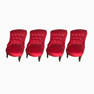 Vintage Red Lounge Chairs, 1950s, Set of 4