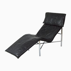 Vintage Black Leather Lounge Chair by Tord Björklund for Ikea, 1980s