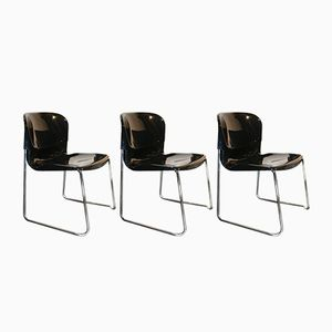 Black Plastic Chairs from Drabert, 1980s, Set of 3