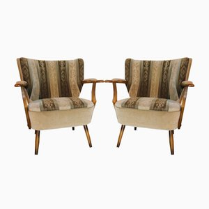 Vintage Upholstered Lounge Chairs, Set of 2