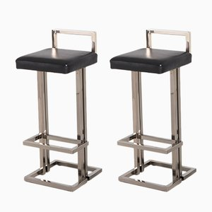 Chrome and Black Leather Bar Stools from Maison Jansen, 1980s, Set of 2