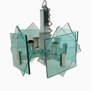 Lampadario a quattro luci in metallo cromato e vetro color acquamarina, anni '70