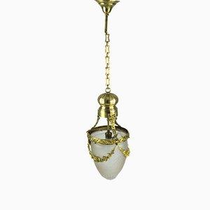 Antique Art Nouveau Hanging Lamp in Bronze