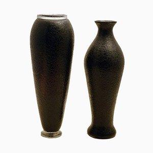Jarrones Mid-Century de vidrio amatista oscuro de Flavio Poli para Seguso. Juego de 2