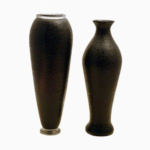 Mid-Century Dark Amethyst Glass Vases by Flavio Poli for Seguso, Set of 2
