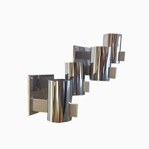 Lámparas de pared de cromo de Gaetano Sciolari, años 70. Juego de 2