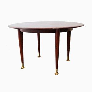 Table d'Appoint Ronde Vintage en Acajou avec Pieds en Laiton, 1960s
